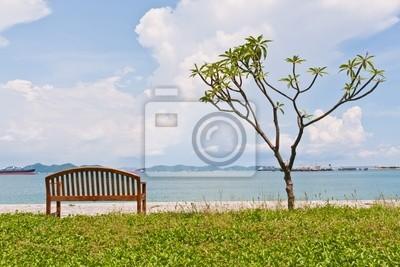 Tapeta Reszta ławki i drzewa na brzegu ramki pasuje