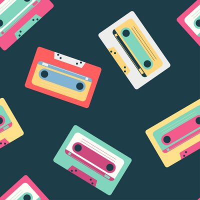 Tapeta Retro music cassette vector seamless pattern on background for wallpaper, wrapping, packing, and backdrop.