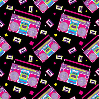 Tapeta Retro odtwarzacz audio w stylu płaskiej. Ilustracji wektorowych dla karty lub plakatu, wydrukować na ubrania. Muzyka.