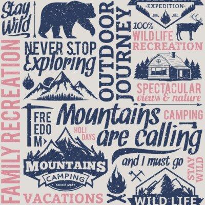 Tapeta Retro stylizuj? Cy typograficzny wektora górskich i odkryty przygody bez szwu deseń lub tła