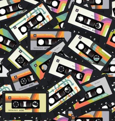 Tapeta Retro tło kaseta taśmy bezszwowe tło wektor