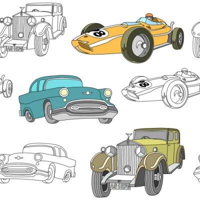 Tapeta Retro transport pattern seamless design illustration