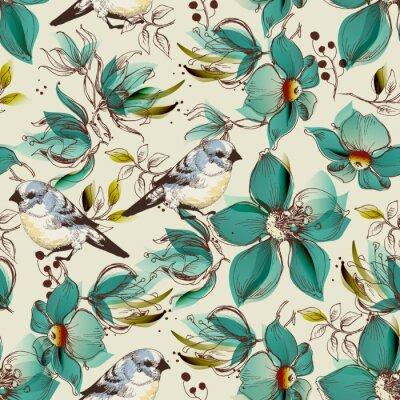 Tapeta Retro wzór, słodkie kwiaty i ptaki wydrukować