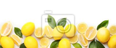 Tapeta Ripe lemons on white background