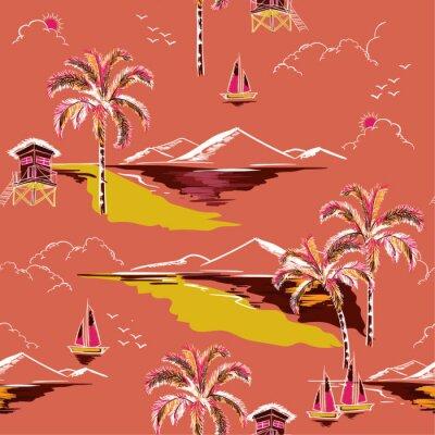 Tapeta Rocznik Piękny bezszwowy wyspa wzoru wektor. Krajobraz z palmami, plażą i oceanu wektorem