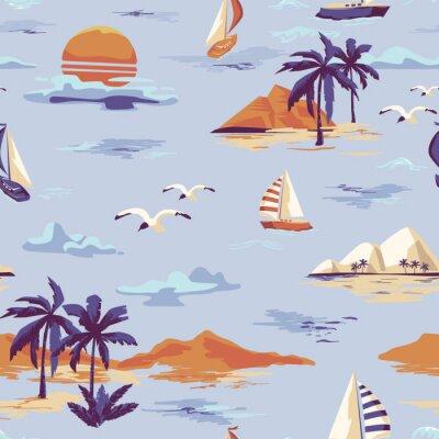 Tapeta Rocznik wyspy Piękny bezszwowy wzór na białym tle. Krajobraz z drzew palmowych, jachtów, plaży i oceanu wektor ręcznie rysowane stylu