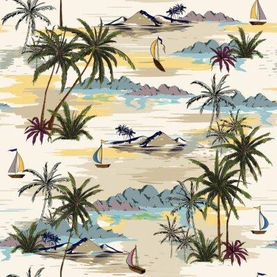 Tapeta Rocznik wyspy Piękny bezszwowy wzór na białym tle. Krajobraz z drzew palmowych, plaży i oceanu wektor ręcznie rysowane stylu