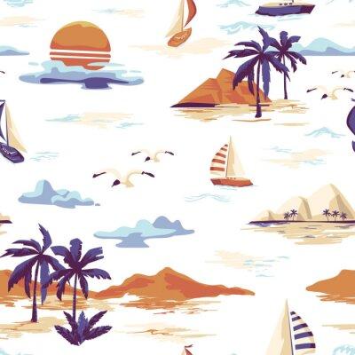 Tapeta Rocznik wyspy Piękny bezszwowy wzór na białym tle. Krajobraz z palmami, jacht, plaża i ocean wektor wyciągnąć rękę stylu