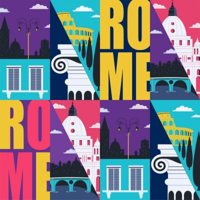 Tapeta Rome, Italy vector seamless pattern. Travel to Rome modern flat graphic design element