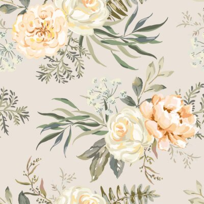 Tapeta Rose, peony flowers with leaves bouquets, beige background. Floral illustration. Vector seamless pattern. Botanical design. Nature summer plants. Romantic wedding