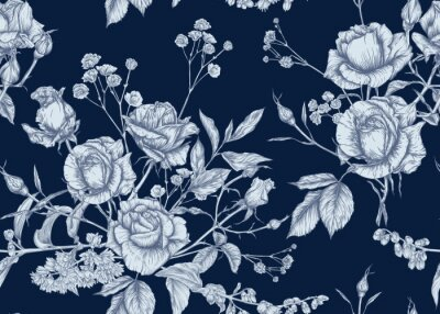 Tapeta Roses and spring flowers seamless pattern. Graphic drawing, engraving style. Vector illustration.