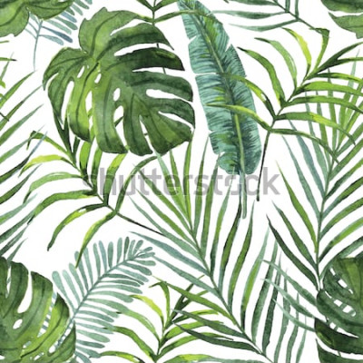 Tapeta rośliny tropikalne liście i kwiaty wzór. Zarys projektu