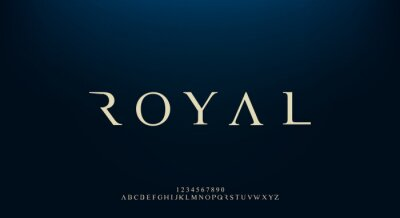 Tapeta Royal, an elegant alphabet font and number. Premium uppercase fashion Design typography. vector illustration