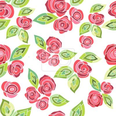 Tapeta róże mozaiki