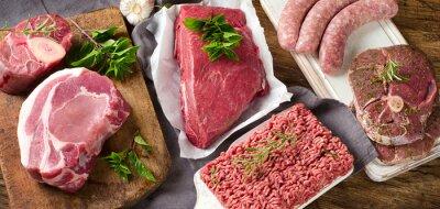 Tapeta Różne rodzaje świeżego mięsa surowego
