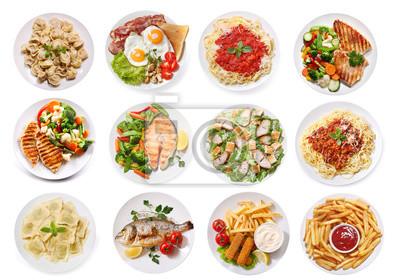 Tapeta różne talerze żywności na białym tle, widok z góry