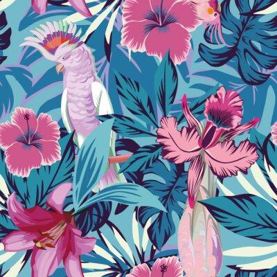 Tapeta Różowa papuga kwiaty i rośliny niebieskim tle