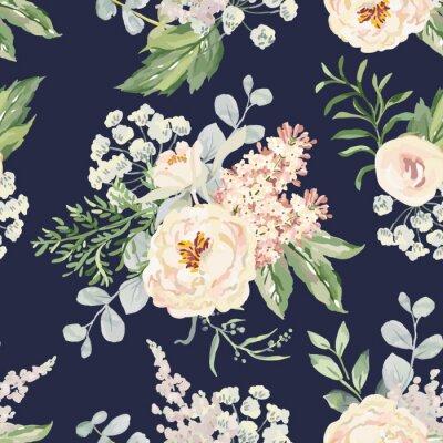 Tapeta Różowe bukiety kremowe na tle marynarki wojennej. Wektorowy bezszwowy wzór z ogrodowymi kwiatami. Piwonia, bzu, paproci i zielonych liści. Romantyczna ilustracja.