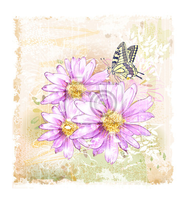 różowe kwiaty i motyle terenowych
