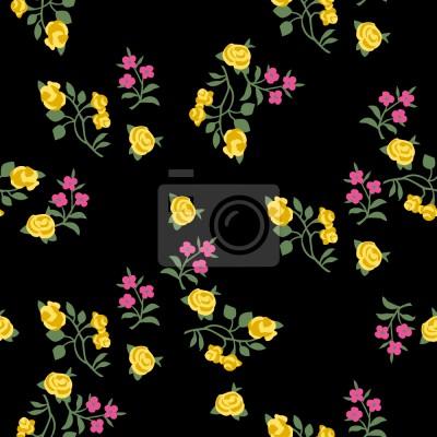Rozproszone Kwiaty Na Czarnym