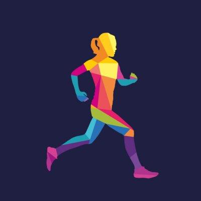 Tapeta Running kobieta sylwetka szablon logo