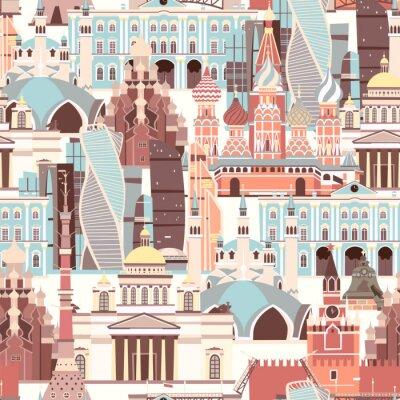 Tapeta Russia architecture vector pattern. Russian symbol seamless background. Street view cartoon flat style