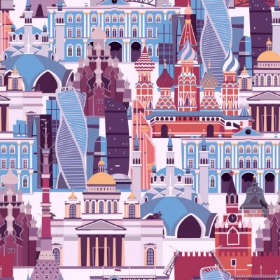 Tapeta Russia landmarks vector pattern. Russian symbol seamless background. Street view with Kremlin palace and St. Basil's Cathedral.  Drawbridge, museum and the Kazan Mosque illustration cartoon flat style