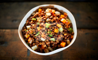 Tapeta Rustic bowl of boiled lentils and vegetables