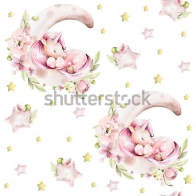 Tapeta Rysunek odręczny akwarela wzór dziecięcy - śliczny śpiący jednorożec na księżycu z różowymi kwiatami piwonii, liści i żółtych gwiazd. Idealne do druku, tekstyliów, scrapbookingu.