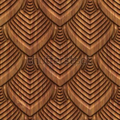 Tapeta Rzeźbiący wzór na drewnianego tła bezszwowej teksturze, 3d ilustracja