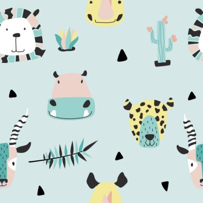 Tapeta Safari baby animals seamless funny pattern.