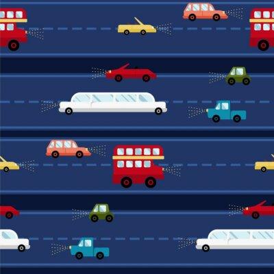 Tapeta Samochodowa wektorowa bezszwowa wzoru transportu tła podróży tekstura