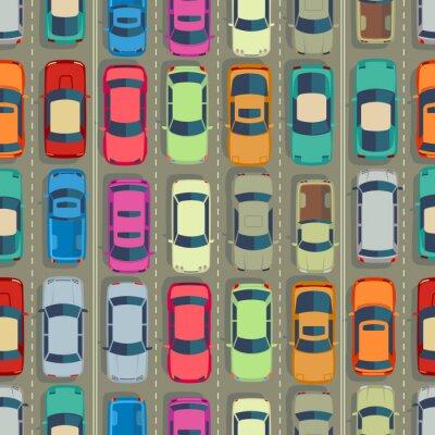 Tapeta Samochody miejskie bezszwowe tekstury. Ogromny korek
