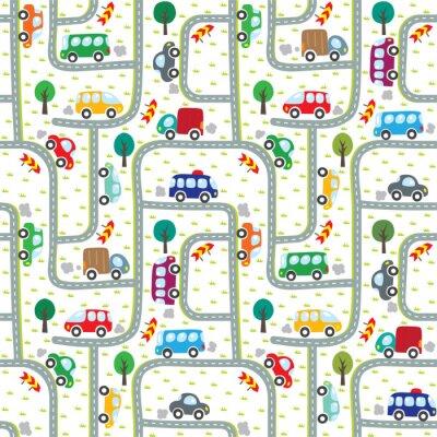 Tapeta Samochody na drodze. Bez szwu deseń.
