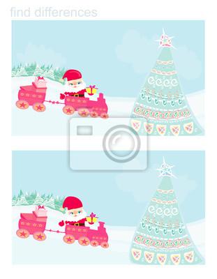 Santa Boże Narodzenie Pociąg - znajdź różnice