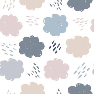 Tapeta Scandinavian clouds seamless pattern. Weather background. Rain backdrop. Texture for wallpaper, background, scrapbook. Vector illustration