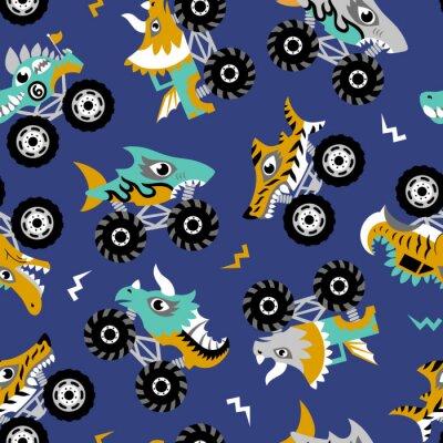 Tapeta Scary animal monster trucks seamless vector pattern on dark blue background.