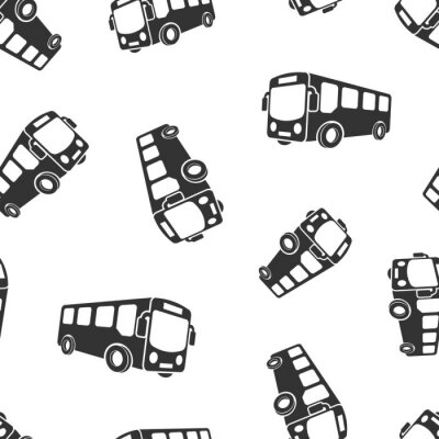 Tapeta School bus icon seamless pattern background. Autobus vector illustration on white isolated background. Coach transport business concept.