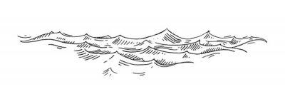Tapeta Sea waves. Vintage vector engrave black illustration. Isolated on white