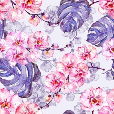 Tapeta Seamleass wzór z różowych kwiatów orchidei z konturów i dużych monstera pups pozostawia na jasnym tle bzu. Malarstwo akwarelowe. Ręcznie rysowane.