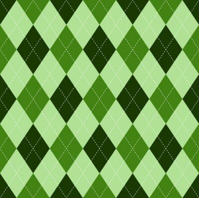 Tapeta Seamless Argyle wzór w odcieniach zieleni z białym szwem.