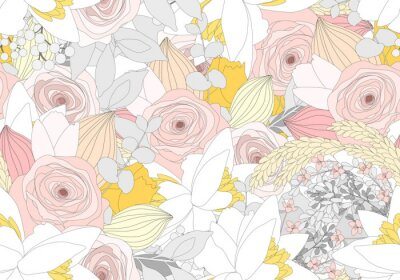 Tapeta Seamless background of rose flowers in pastel colors