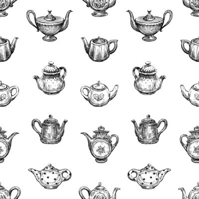 Tapeta Seamless background of sketches of various teapots