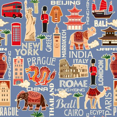 Tapeta Seamless background pattern of tourist objects from different countries. Vector color graphics