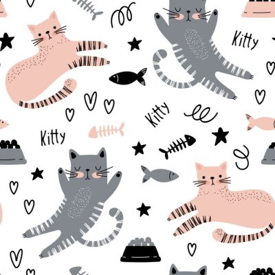 Tapeta Seamless background with cute cats
