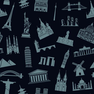 Tapeta Seamless background with tourist attractions and architectural landmarks