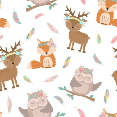 Tapeta Seamless boho pattern. Vector image on national American motifs. Illustration of a hand-drawn fox, deer and owl with feathers. For print, background, textile, holiday, children, baby, birthday, party