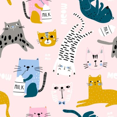 Tapeta Seamless childish pattern with cute cats in different poses. Creative kids hand drawn texture for fabric, wrapping, textile, wallpaper, apparel. Vector illustration