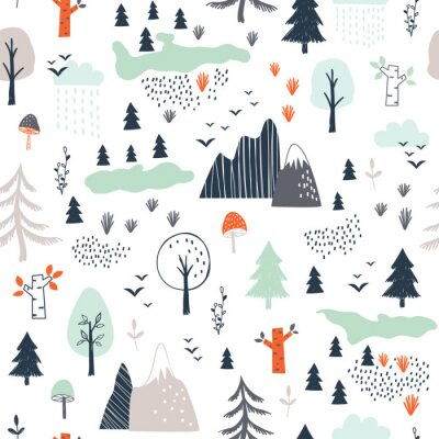 Tapeta Seamless childish pattern with trees, mountains and clouds