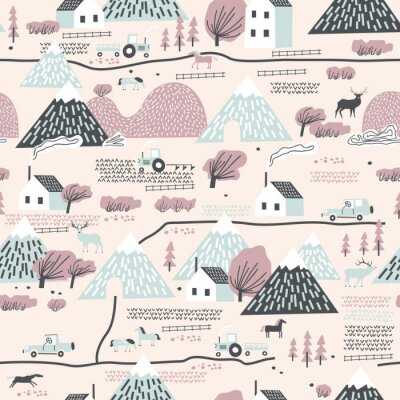 Tapeta Seamless colorful pattern with house, trees, horses, mountains and hills. Perfect for kids fabric, textile, nursery wallpaper.